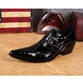 Height Increasing Natrual Cowskin Leather Men's Wedding Dress Model Shoes Night Club Party Banquet Black Shoes GZSL 010
