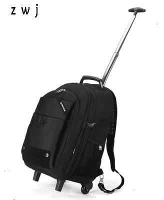 ผู้ชายกระเป๋านักเรียนกระเป๋าเป้สะพายหลังกันน้ำสำหรับแล็ปท็อปที่มีคุณภาพท่องเที่ยวDuffleชายขนาดใหญ่รถเข็นกระเป๋าเดินทาง-ใน กระเป๋าเดินทาง จาก สัมภาระและกระเป๋า บน   1