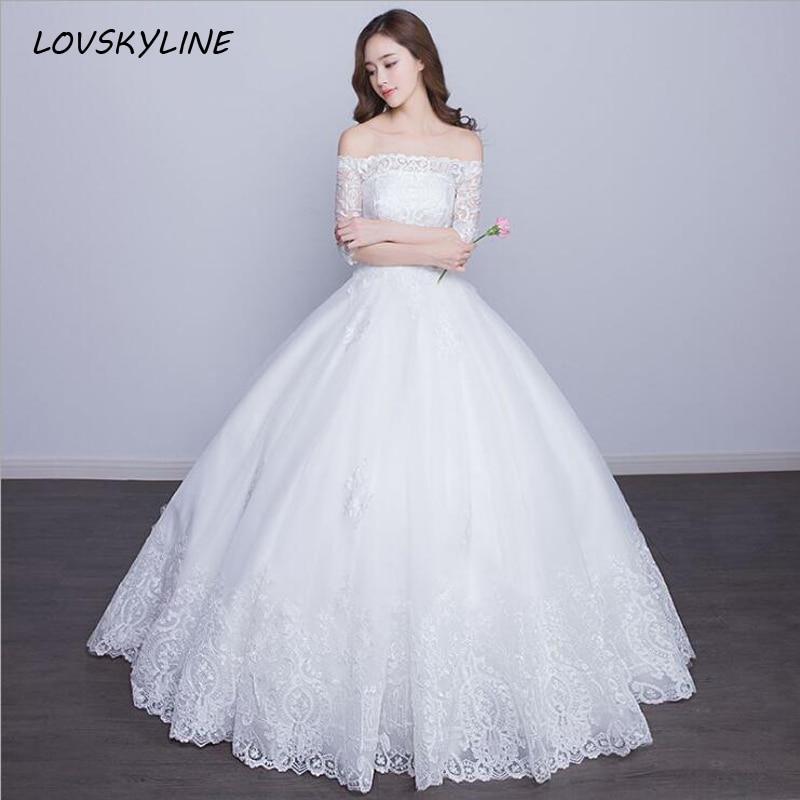 Vestido De Noiva Sexy Boat Neck Princess Wedding Dresses  Floor Length Lace UP Back Vintage Embroidery Lace Bridal Gowns