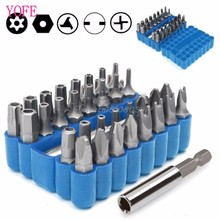 Security Bit 33Pcs Set Tamper Proof Torx Spanner Screwdriver Star Hex Holder Rod S08 Drop ship(China)