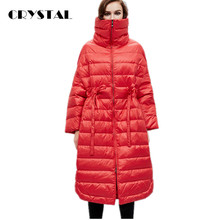European Fashion 2016 New Winter Down Coat Jacket Women High Quality Loose Fit X-Long Parka adjustable waist Free Size Y15011