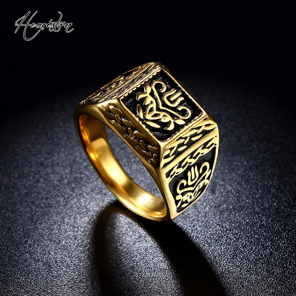 2017 Golden Plated Square Ring with Mysterious Lucky Pattern, Titanium Steel Rock Rings for Men, Cool Biker Jewelry TS 276
