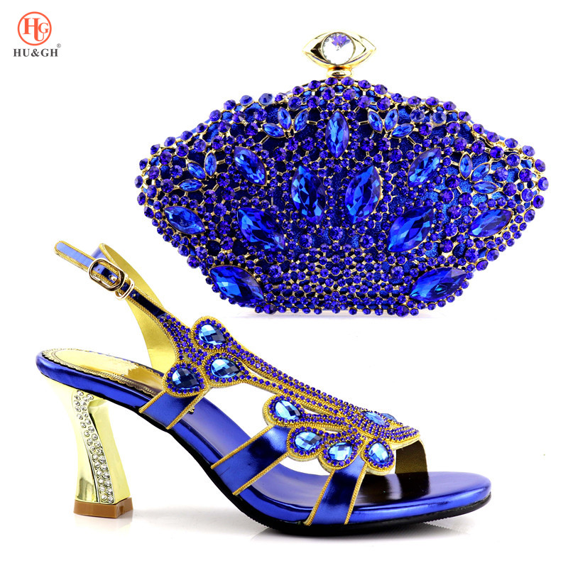 Blue Color Thin Heels 9.5cm Shoes and Bag To Match Italian African Wedding Shoes and Bag Set Matching Italian Shoe and Bag Set shoes and bag to match italian matching shoe and bag set african wedding shoes and bag to match for parties doershow hlu1 37
