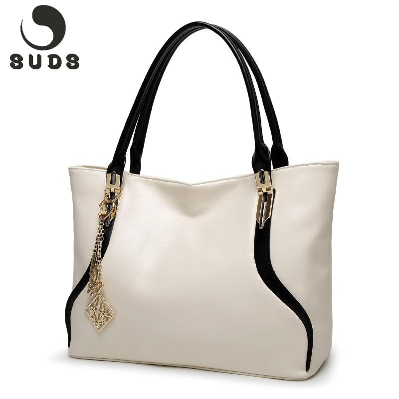 SUDS Fashion Shoulder Bags For Women 2017 European With Zipper Summer High Quality Women's Shoulder Bags PU Soft Leather Handbag