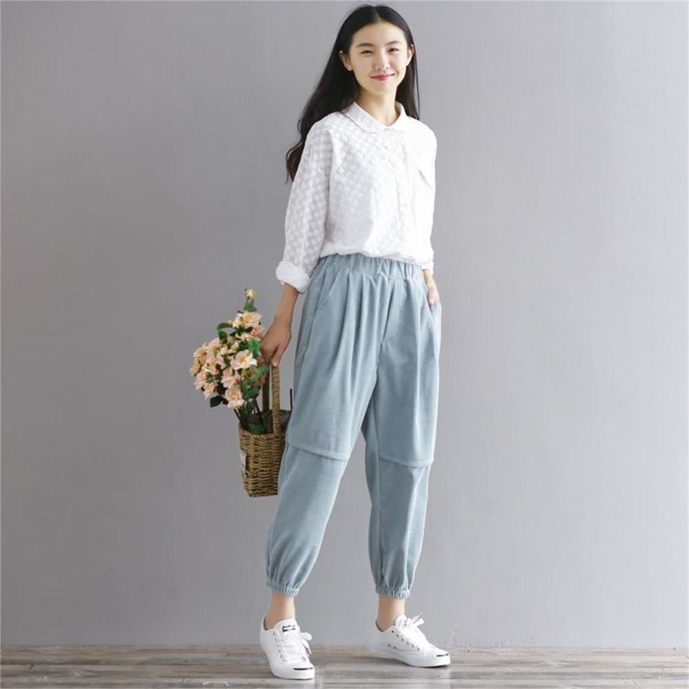 Autumn Winter Solid Color Women Corduroy   Pants   Vintage Casual Warm Lady Loose Cotton Harem Trouser Carrot Shape   Wide     Leg     Pants