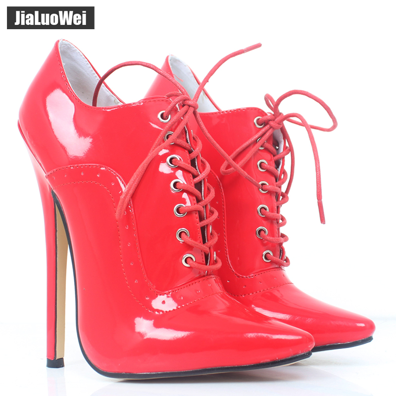 jialuowei 7 Extreme High Heel Women Lace up Oxfords Shoes Pointed Toe stiletto Thin Heels Sexy