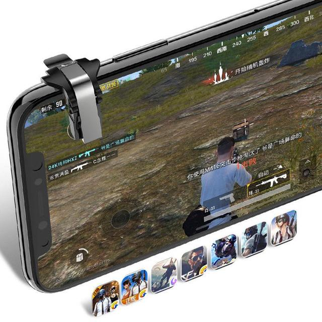 Kuulee PUBG Shooter Controller Trigger Fire Button Game Handle Smart Phone Mobile Gaming Key L1 R1 Shooter Pubg Controller