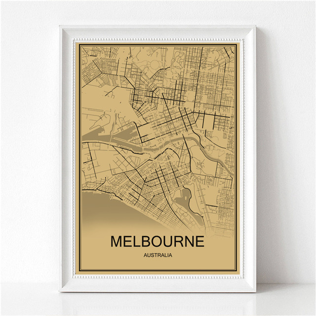 Australia City Melbourne Vintage Poster Krafts Paper World Map Retro