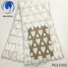 BEAUTIFICAL White lace fabric 2017 latest design african cord guipure for wedding water soluble PG153