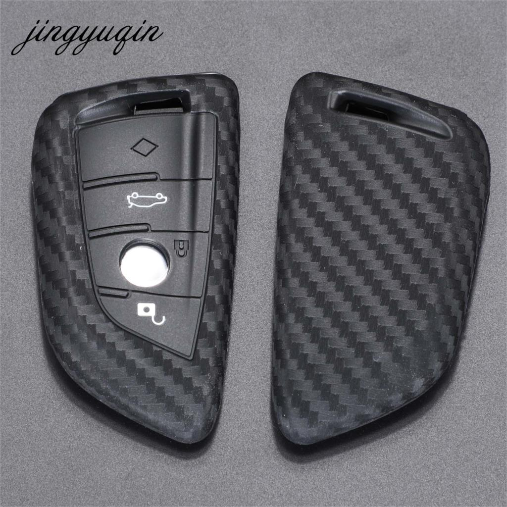 Jingyuqin Key Case Cover Fibler Silicone For BMW X1 X3 X4 X5 X6 F15 F16 F48 G30 G38 525 540 740 1 2 5 7 Series 218i Case