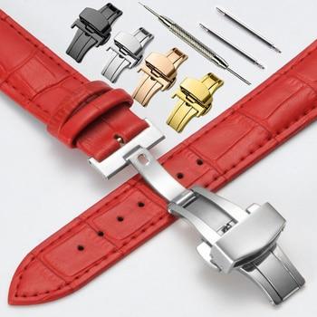 d267d2bb7ea4 Correas de reloj de cuero genuino 12 14 16 17 18 19 20mm reloj Universal  acero mariposa cierre hebilla Correa pulsera correa de muñeca + herramienta