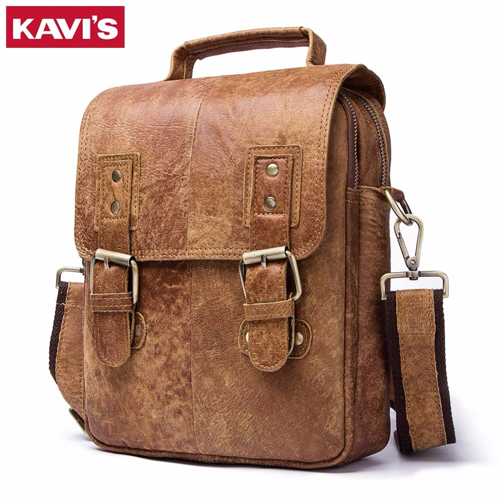 KAVIS 100% Genuine Leather Shoulder Bag Men Classic Business CrossBody Bag Designer Cow High Quality Messenger Travel Men bags baillr brand genuine leather high quality business men s bag messenger bags men leather crossbody shoulder bag men travel bags