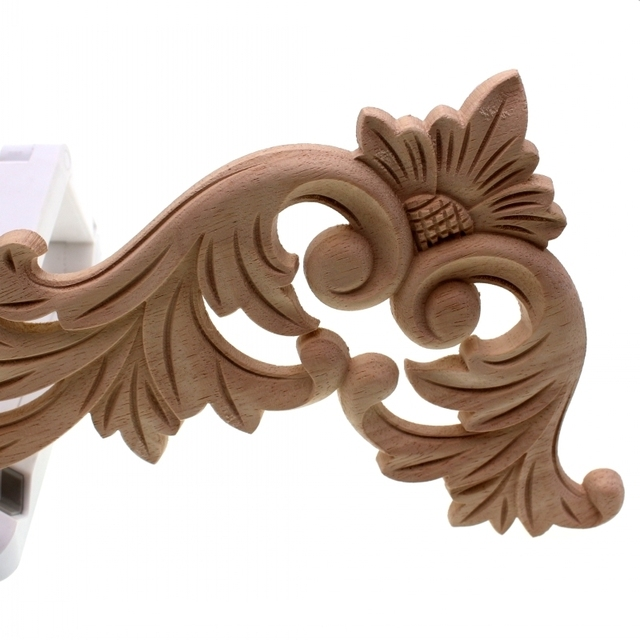 RUNBAZEF Floral Wood Carved Corner Applique Wooden Carving Decal  Furniture Cabinet Door Frame Wall Home Decoration Accessories 5