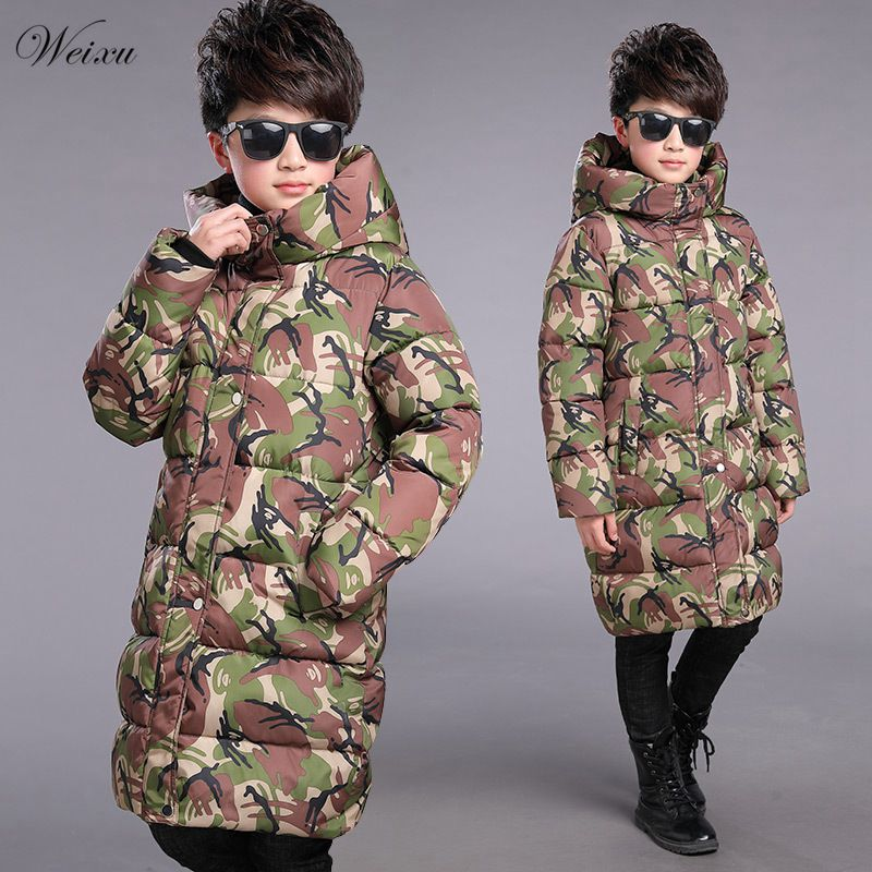 Winter Jacket for Boy 2018 Children's Camouflage Jacket Hooded Down Cotton Thick Warm Long Coat Kids Boy Outerwear Parka Clothes 2017 new winter women hooded outerwear parka long warm thick coats female jacket wadded plus size cotton coat xt0230