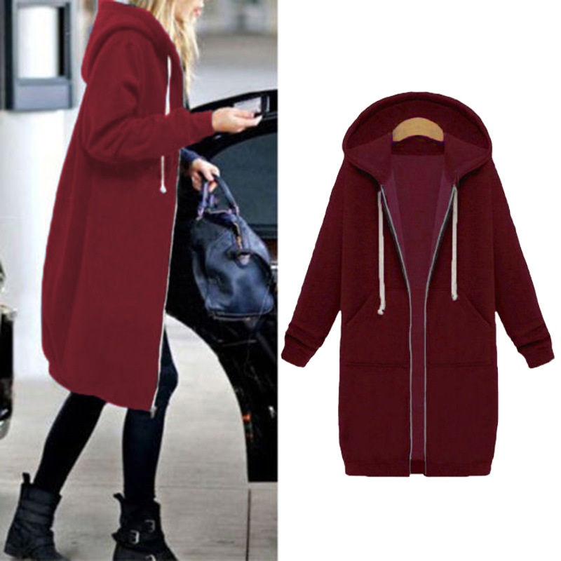 Women Warm Winter Fleece Hooded Parka Coat Overcoat Long Jacket Outwear Zipper outwear Female Hoodies S-5XL plus size sweatshirt 28