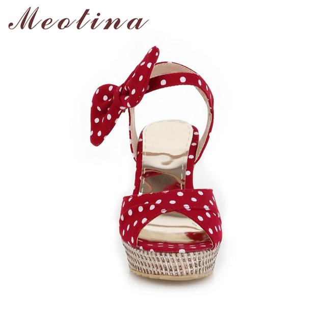 Meotina Summer Platform Shoes Ladies Fish toe Polka dot Bow Platform Wedges Heels Women Shoes Two Piece Ladies Shoes Red Blue
