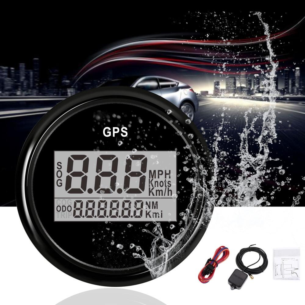 2 ''52 ミリメートルの Gps スピードメーター走行距離デジタル GPS ボートスピードメーターゲージ 0 〜 999 ノットキロ/h mph 車の速度計 GPS アンテナバックライト