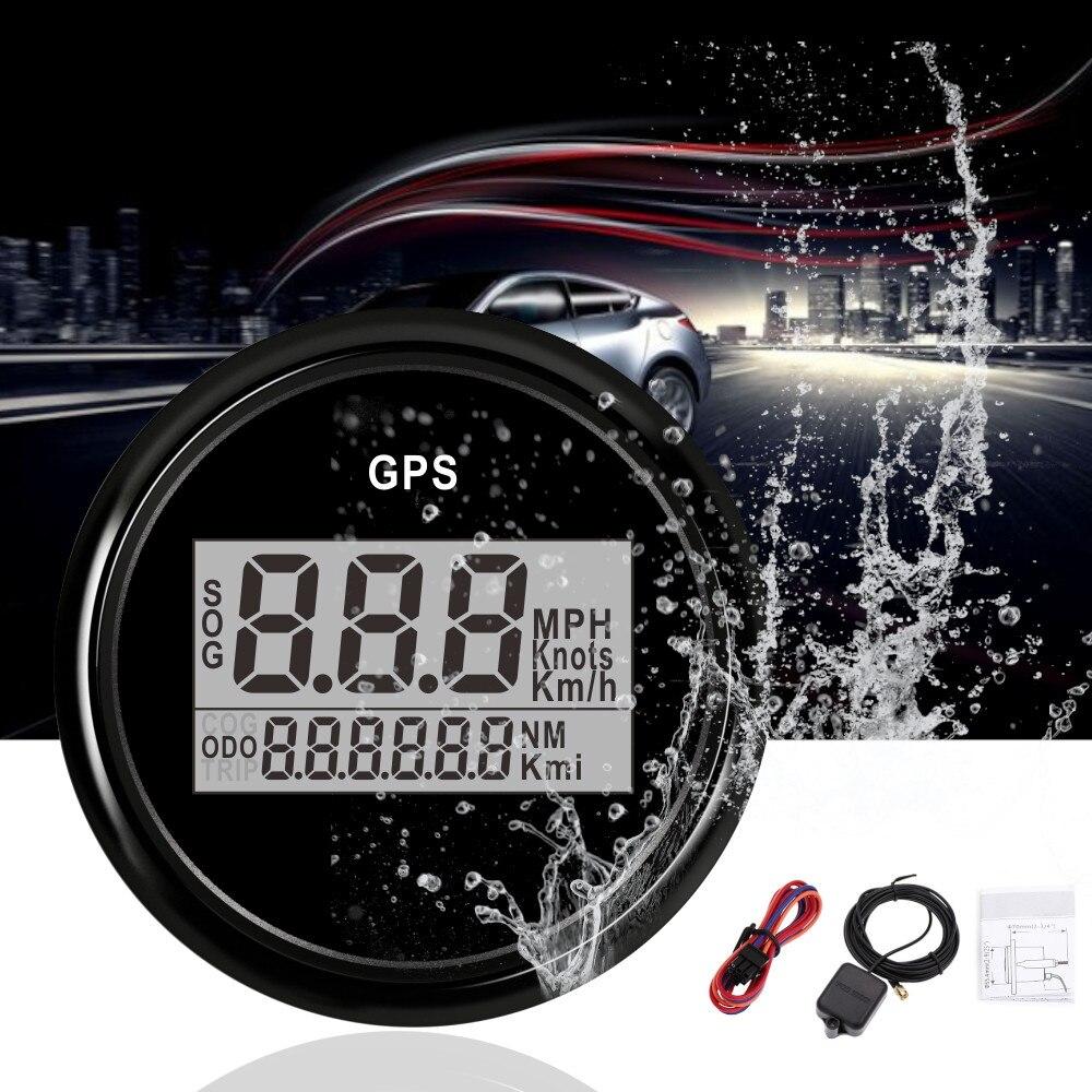 2 ''52 millimetri GPS Tachimetro Contachilometri Digitale GPS Barca Tachimetro del Calibro di 0 ~ 999 nodi km/h mph indicatore di Velocità di auto Antenna GPS Retroilluminazione
