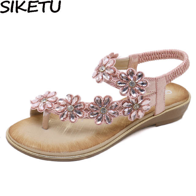 Online Shop SIKETU Women Wedding Bridal Bridesmaid Shoes Flip Flop Ring Toe  Bohemian Sandals Floral Rhinestone Crystal Silngback Shoes Flats  81504330f431