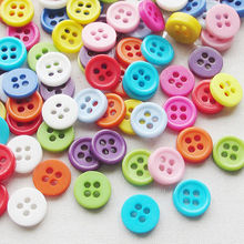 100 pcs 8mm Random Mixed Resin 4 Holes Sewing Buttons Scrapbooking 9mm Knopf Bouton