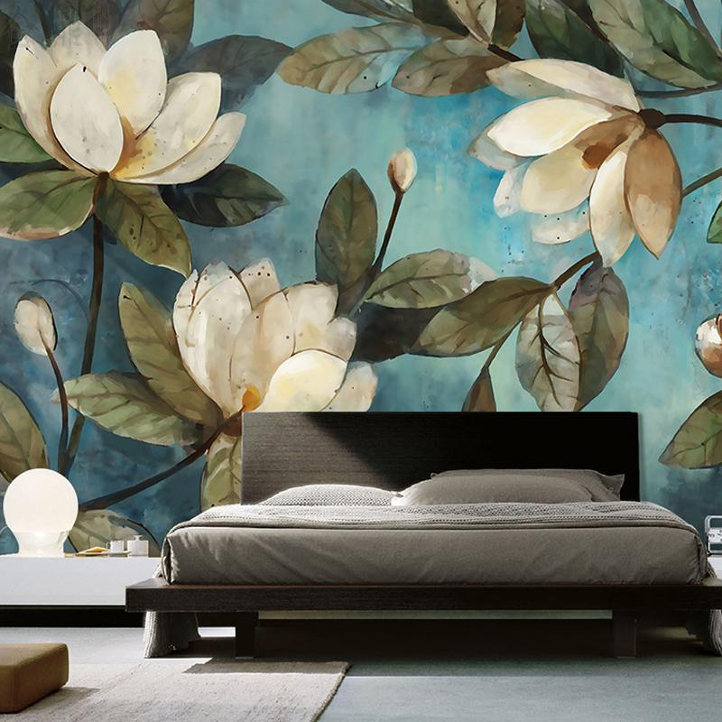 Custom Mural Wallpaper European Painting Flowers Retro
