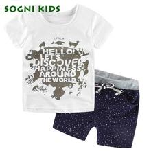 2017 d'été de bébé garçons vêtements set enfants enfants korte T-shirts + Shorts 2 pcs Ensembles Découverte Du Monde enfants vêtements de costume