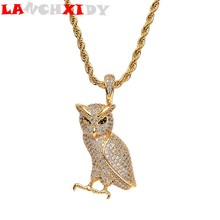 Hip Hop Metal Men Pendant Fashion Owl Animal Rhinestone Crystal Women Pendant Necklace Sweater Chain Personality Trend Jewelry цена 2017