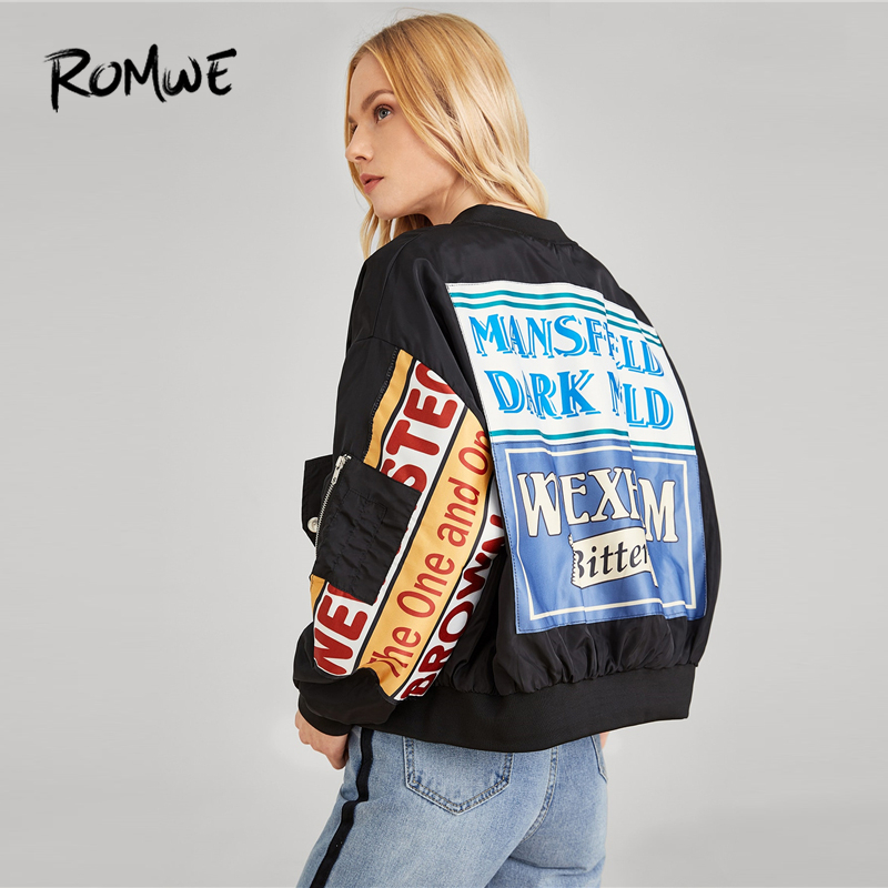 ROMWE Letter Print Zipper Side Bomber   Jacket   2019 Cozy Black   Basic     Jacket   Cool Swish Women Spring Autumn Female   Jackets