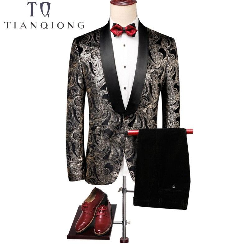 TIAN QIONG col châle hommes Floral costumes avec pantalon mariage marié bal Tuxedos pour hommes nouveauté Slim Fit imprimé costume masculin