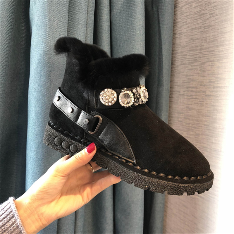 8c3e9c4403072 Noir En Black Cristal Fourrure khaki Troupeau Neige Chaussures Mode Peluche  Dames De D hiver Cheville pink forme Plat Plate Bottes Lapin Femmes gBq67wq