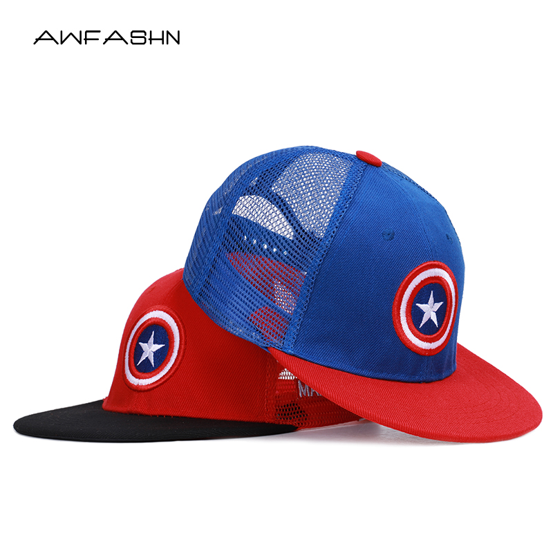 2019 New Summer Childrens   Baseball     Cap   Cartoon Captain America Snapback Boys Girls Hip Hop Hat Sun Mesh   Cap   Kids Adjustable Bone