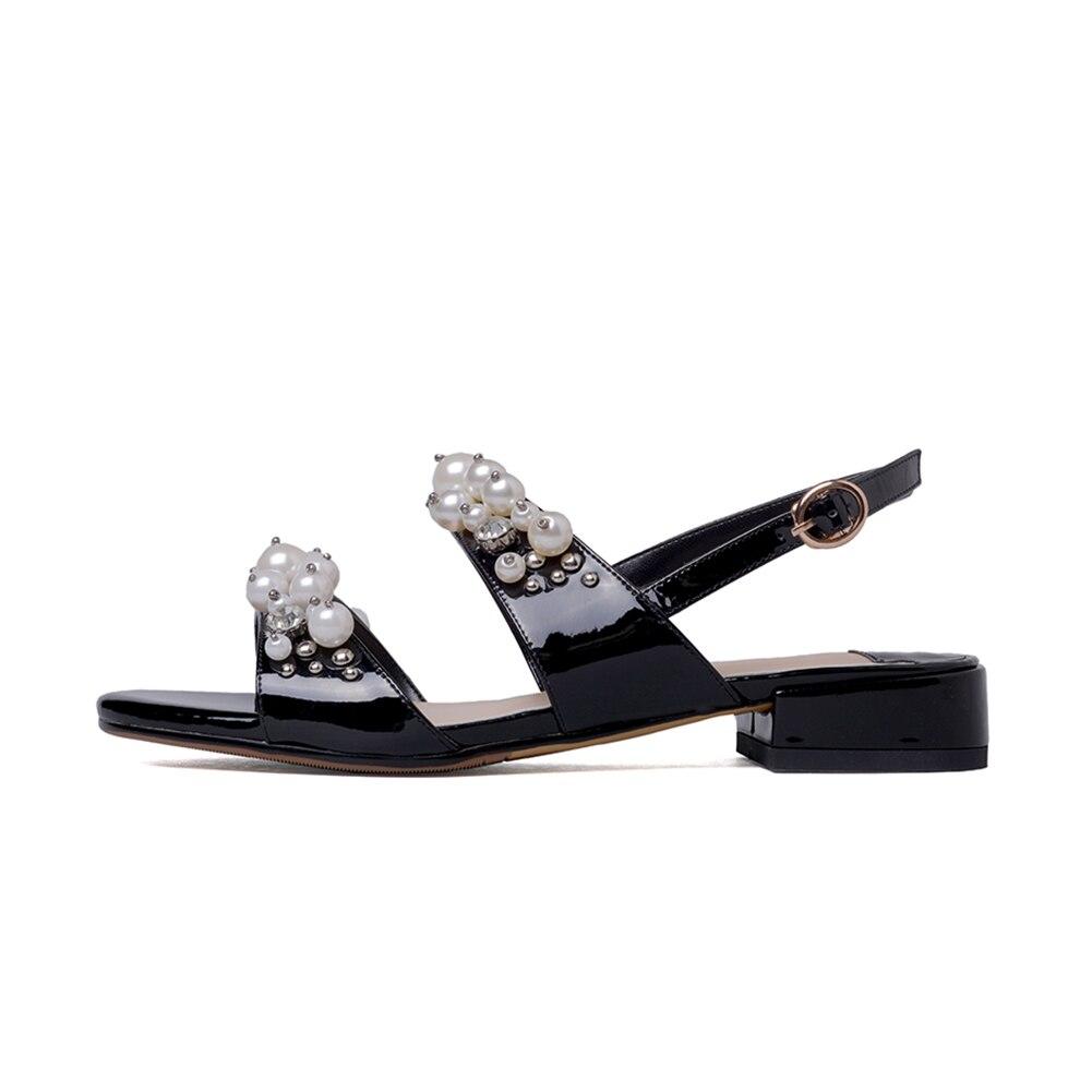 Cuir D'été Loisirs Femmes 2019 Chaussures Véritable Casual Femme Sandales Noir Sarairis De rose Perles Date HZBwqtFnx