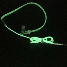 Fashion Design Metal Zipper Luminous Earphone Glowing Stereo Audio Headset With Mic Night Lighting Sport Headphone For All Phone
