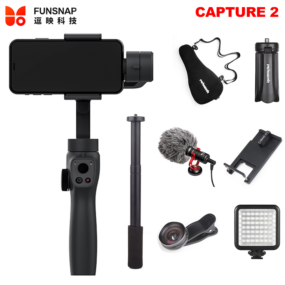 Funsnap Capture 2 Smartphone 3 Axis Gimbal Stabilizer for iPhone XS Max XR X 8plus 8