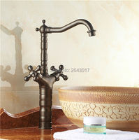 Bathroom Faucet Antique Bronze 360 Swivel Dual Handle Control Deck Mounted Hot And Cold Countertop Tall
