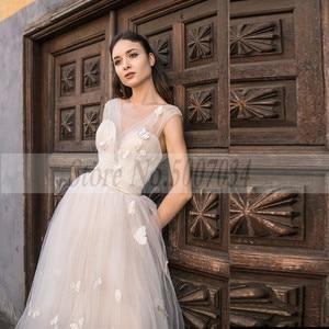 Image 2 - Smileven Boho 웨딩 드레스 2019 3D Appliques 신부 드레스 Vestido De Novia V 넥 나비 웨딩 드레스 Robe De Mariee