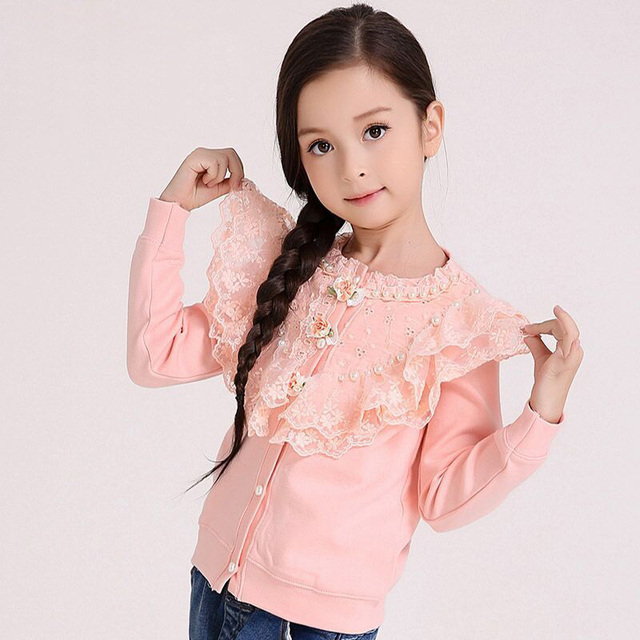 Girls Cardigan Sweater Spring/Autumn Cotton Knitted Sweater Jacket Full Sleeves Lace Patchwork Children Clothes DQ216