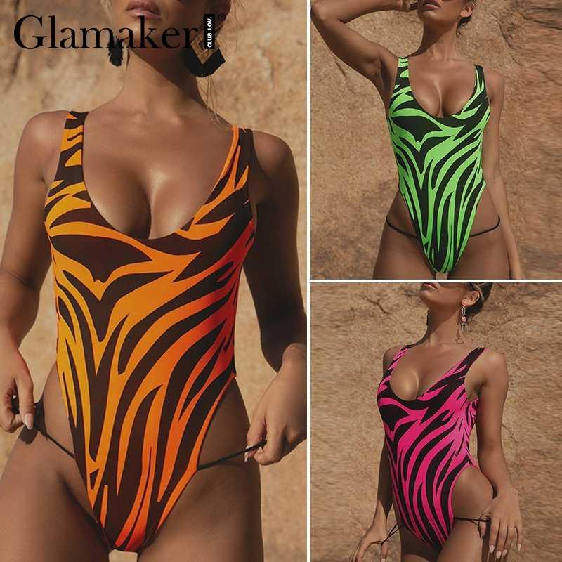 Glamaker Bir omuz mikro bandeau mayo Kadınlar seksi bikini mayo biquini Yaz yüksek kesim beachwear şınav mayo