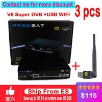 3 cái Freesat V8 Siêu DVB-S2 Satellite Receiver Đầy Đủ 1080 P HD FTA Vệ Tinh decoder + USB WIFI hỗ trợ Biss Key cline IPTV Youporn