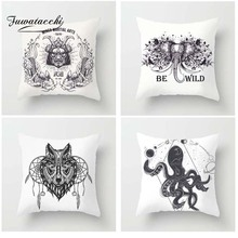 Fuwatacchi Dark Style Cushion Cover Animals Octopus Wolf Elephant Printed Pillow Cover Deadpool Decorative Pillows For Sofa Car