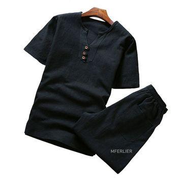 MFERLIER Summer shirt men Large size 5XL...