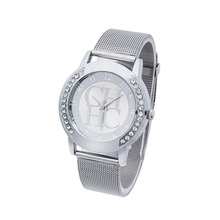 2016 New Brand Gold Geneva Crystal Casual Quartz Watch Women Metal Mesh Stainless Steel Dress Watches Relogio Feminino Clock Hot