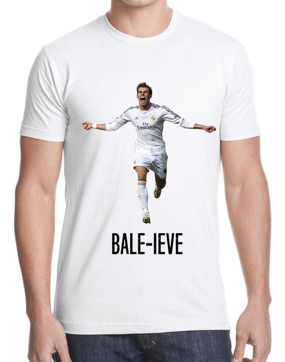 2016 Hot Sale Men Short Sleeve T Shirts Gareth Bale - Bale-ieve Believe Classic T shirts Casual Custom T-shirts