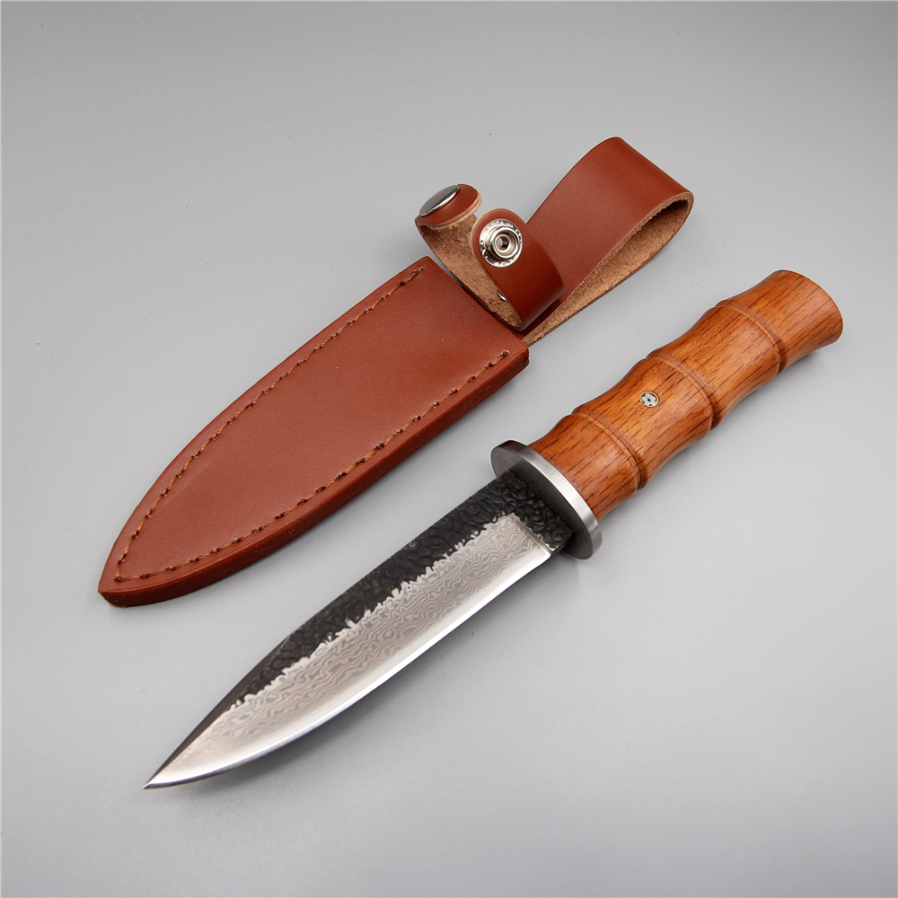 Handmade camping hunting knife damascus steel bamboo handle straight fixed blade 58 hrc pocket outdoor survival knife tools цена