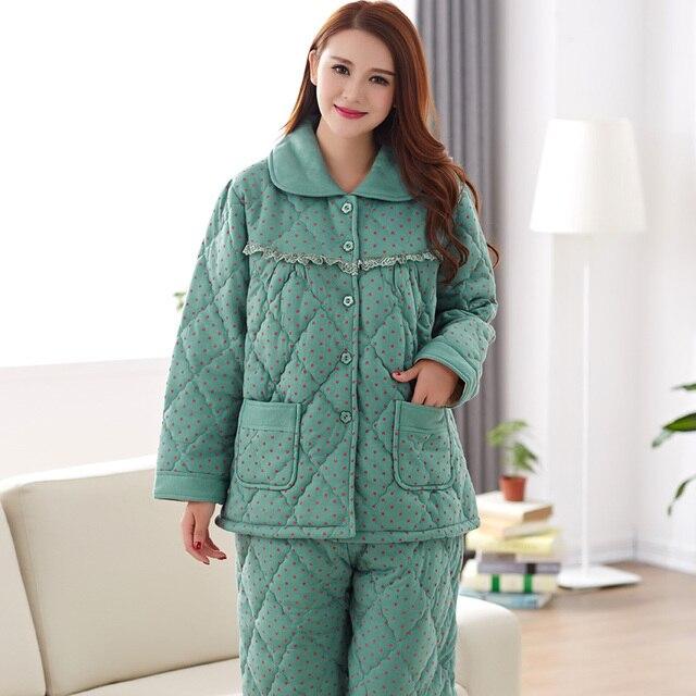 c4ead18200 Winter women pyjamas long-sleeved thick three layer cotton nightie women  pajama sets plus size tracksuit 3XL pijamas para mujer