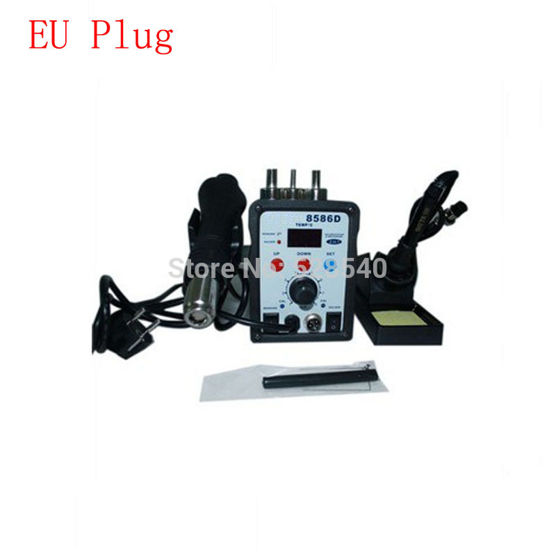 1PCS 8586D solder station 220V Hot Air Gun 2in1 smd atten soldering station Hot Air rework Soldering station  atten 2in1 at8502d lead free soldering station smd rework station hot air gun