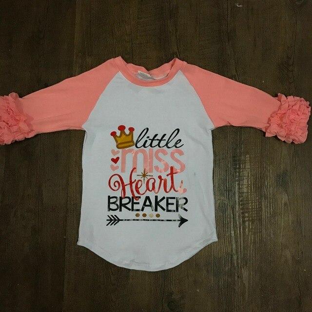 Aicton 2018 Girl Valentine Day Icing Raglan Shirts Little Miss Heart