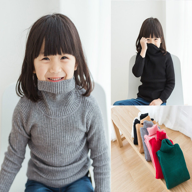 a56343c8d913 Girls Turtleneck with Beard Label Solid Baby Kids Sweaters Soft Warm ...