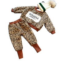 Fashionable Toddler Girl Thickened Leopard Suit Kids Winter Casual Fluffy Clothes Set Letter Print Tops Ankle