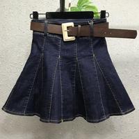 2019 spring summer new pleated denim skirt women high waist anti light jeans miniskirt